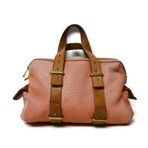 Fossil perforated leather satchel